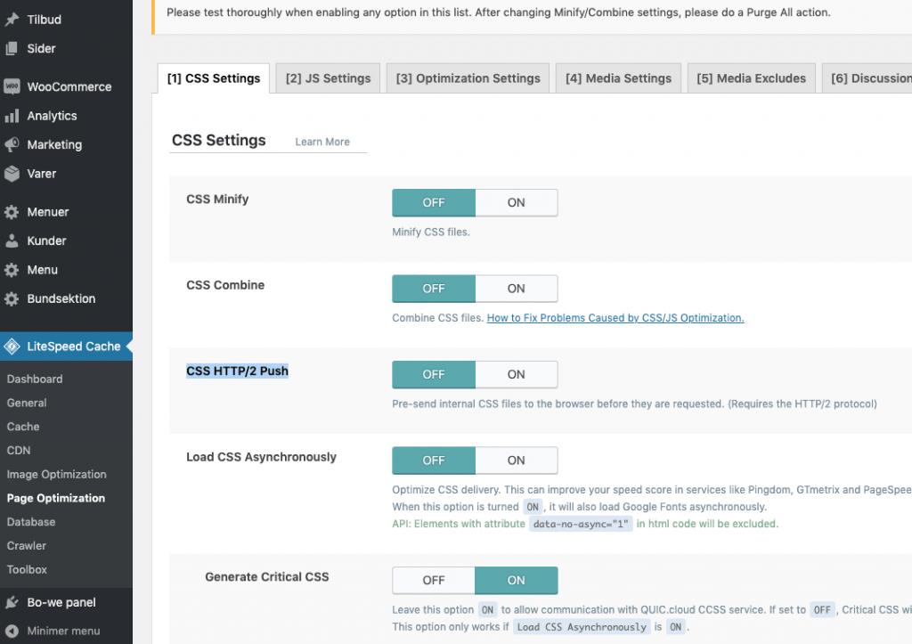 LiteSpeed-cache-css-settings