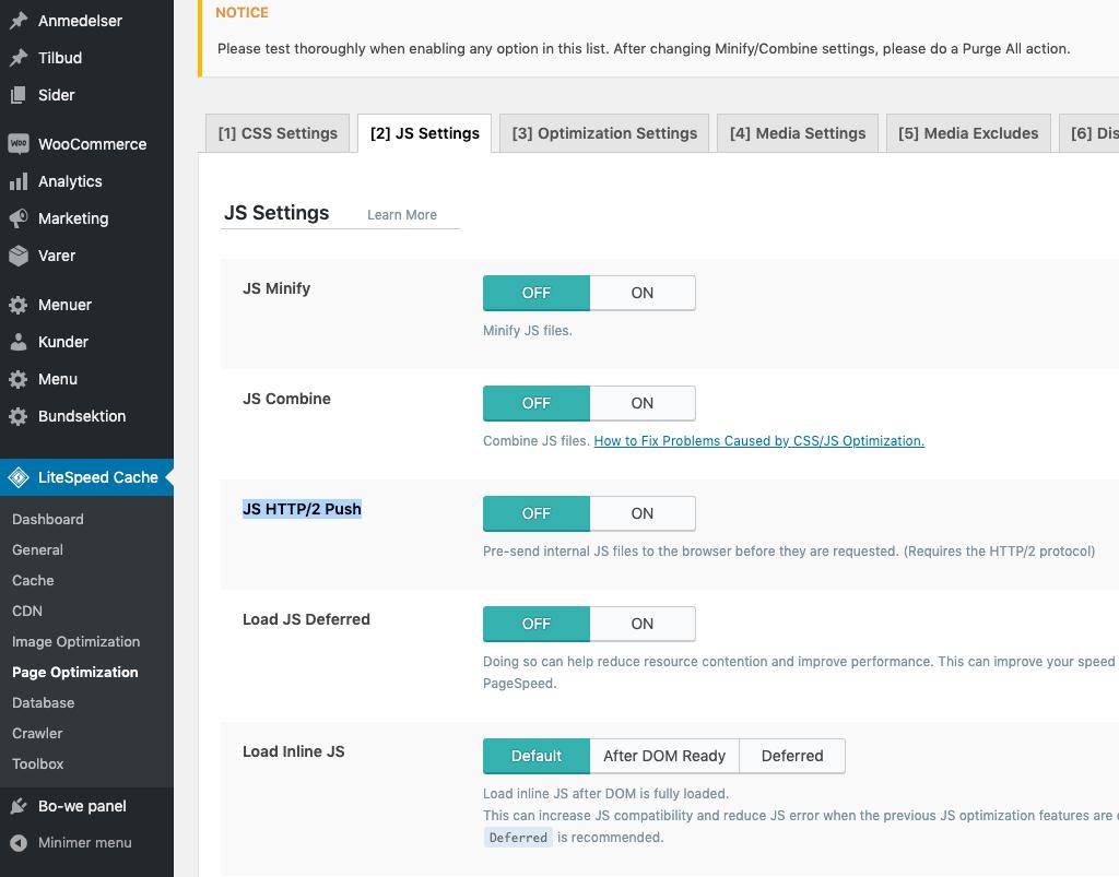 LiteSpeed-cache-js-settings