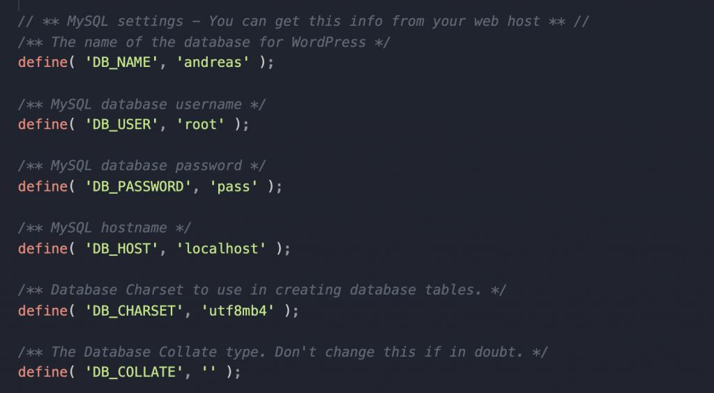 Databaseforbindelse-oplysninger
